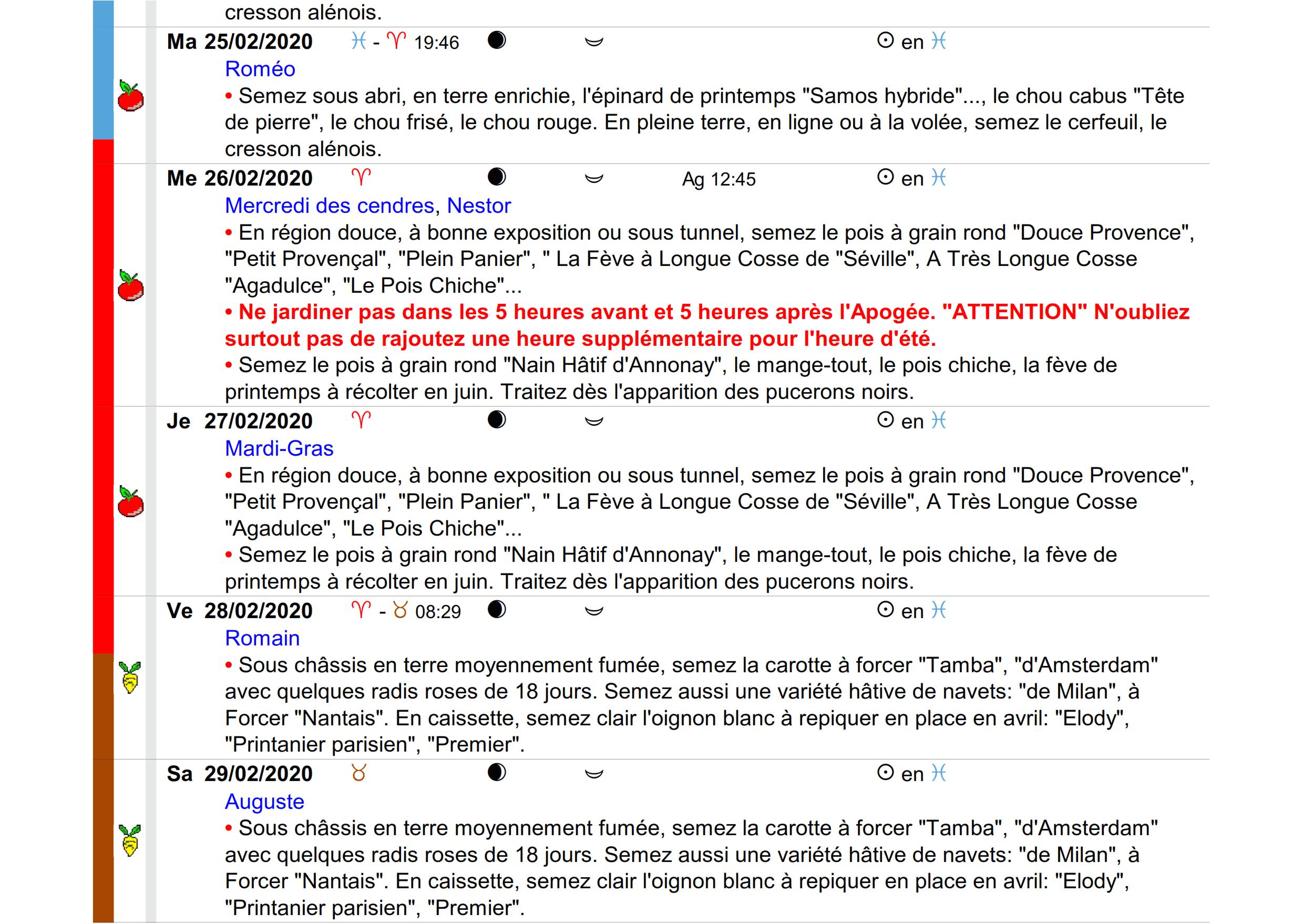 Calendrier lunaire de jardinage février 2020