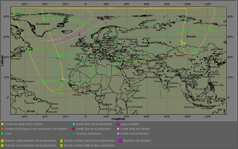 Carte et trajectoire de l`éclipse solaire du 20 mars 2015