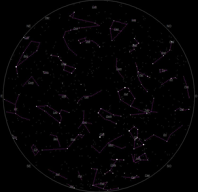 la vue du ciel en février carte astronomique